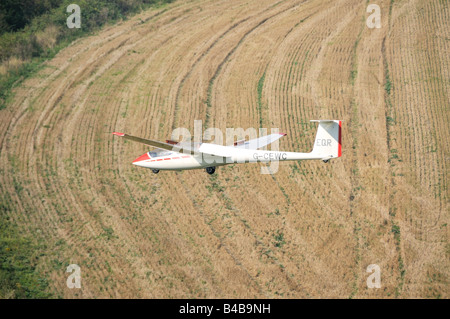 Glider flying over crop fields Dunstable Downs England - Stock Photo