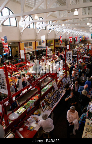 Crowded interior of the Saint John City Market in the city of Saint John, New Brunswick, Canada - Stock Photo