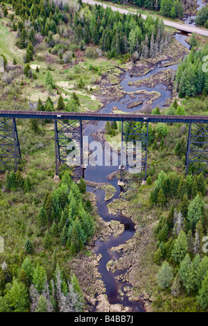 High Level rail bridge near near the town of Ouimet in Ontario, Canada. - Stock Photo
