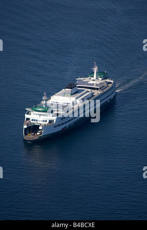 Washington State Ferry near Seattle in Puget Sound - Stock Photo