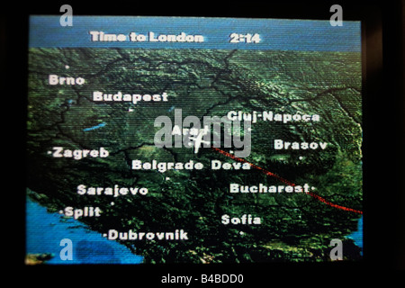 iXPLOR moving map technology gives the air traveller real-time geographical positions on an economy class airline - Stock Photo