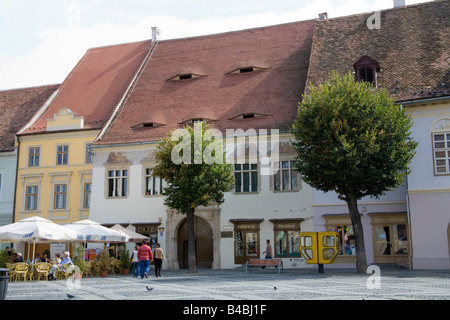 Sibiu Hermannstadt Transylvania Romania Europe September  preserved buildings with unusual roof windows known as - Stock Photo