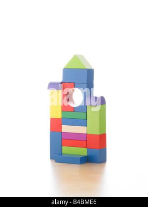 toy children's wooden building blocks - Stock Photo