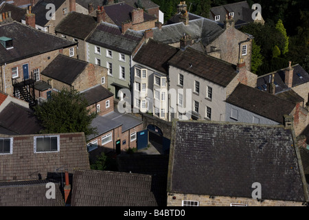 Houses in Richmond, North Yorkshire, photographed from the castle. - Stock Photo