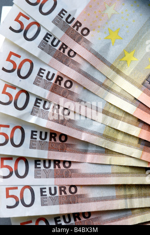 Fifty euro notes banknotes many bunch money paper note banknote 50 eur - Stock Photo