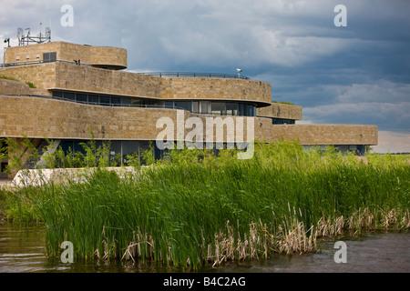 Main visitor centre at Oak Hammock Marsh Interpretive Centre, near Stonewall, Manitoba, Canada - Stock Photo