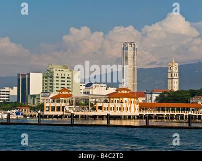 Asia, Malaysia, Penang Pulau, Pinang, Georgetown, City skyline and Victoria Memorial Clock Tower - Stock Photo