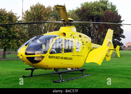 The North West air ambulance helicopter with a low Noise fenestron tail rotor system and bearingless main rotor - Stock Photo