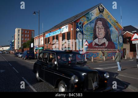 Sinn Fein office and Bobby Sands Mural Falls Road belfast city centre northern ireland uk - Stock Photo