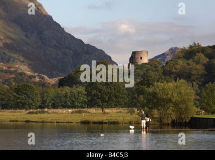 Dolbadarn Castle over Llyn Padarn, Snowdonia, Wales - Stock Photo