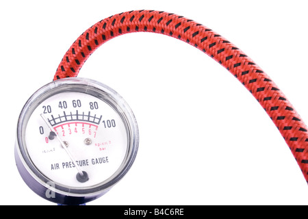 Air Pressure Gauge or Manometer isolated on a white background - Stock Photo
