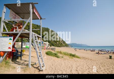Lifeguard in Tower on Glifada Beach, Corfu, Greece, Europe - Stock Photo