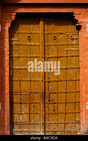 Old Traditional Entrance Door, Rajasthan, India. - Stock Photo