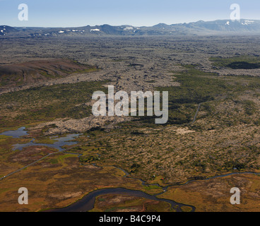 Aerial View of Moss-Covered Lava Field, Iceland - Stock Photo