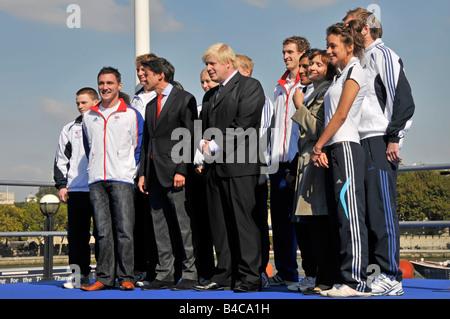 2012 Olympics promotion ceremony outside City Hall includes Lord Seb Coe Boris Johnson and Tessa Jowell Southwark - Stock Photo