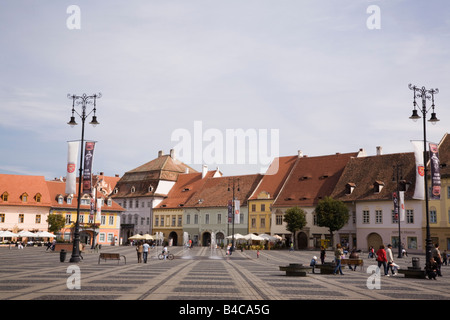Sibiu Transylvania Romania Europe Old buildings in Piata Mare in historic city centre of Hermannstadt - Stock Photo