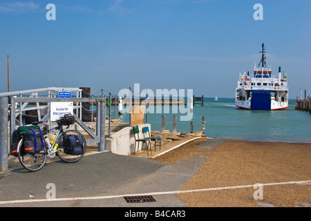 A touring cycle waiting for the Yarmouth, Isle of Wight to Lymington ferry. Great Britain England UK 2008 - Stock Photo