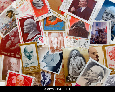 Many different USSR postage stamps with Lenin in perfect condition - Stock Photo
