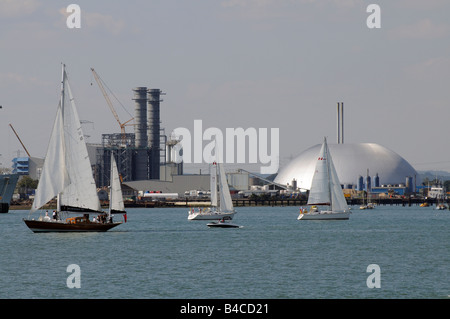 Southampton Water sailing and industry England UK The silver dome at Marchwood of Veolia Environmental Services - Stock Photo