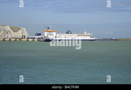 Three P O ferries at Dover Eastern Docks Ferry Port UK - Stock Photo