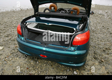 Car, Peugeot 206 CC, Convertible, model year 2000-, turquoise/green, open top, view into boot, technique/accessory, - Stock Photo
