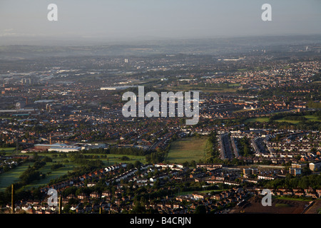 View from top of Cave Hill overlooking north and west Belfast belfast northern ireland uk - Stock Photo