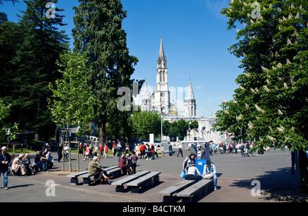FRANCE, LOURDES. Church in the sanctuary in Lourdes, France. - Stock Photo