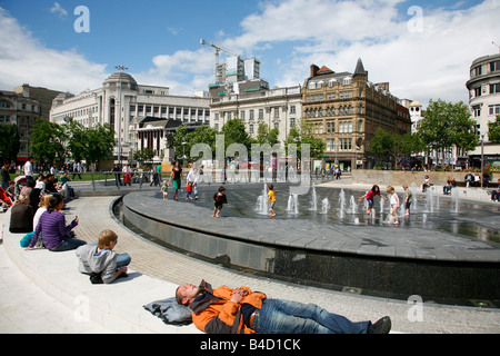 Aug 2008 - Piccadilly Gardens Manchester England UK - Stock Photo