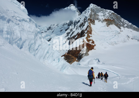 Mountaineers on Pisco mountain 18897 ft 5760 m Peru South America - Stock Photo