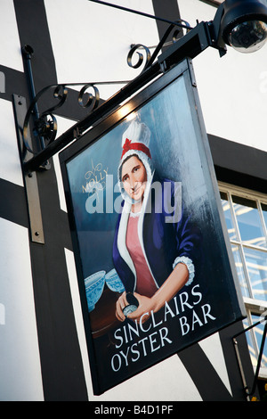 Aug 2008 - Sinclairs Oyster Bar sign at Exchange square Manchester England UK - Stock Photo