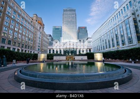 Cabot Square, Canary Wharf, London, UK - Stock Photo