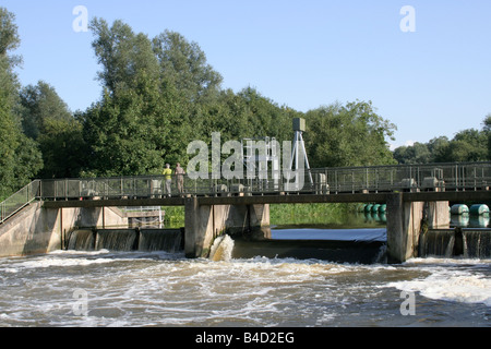 The weir at Eaton Socon Lock on the river Ouse - Stock Photo