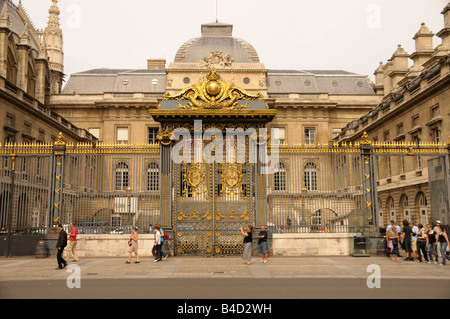Palais de Justice and Cour du Mai in Paris France - Stock Photo