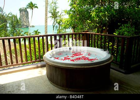 Hot tub viewed from Centara Beach Resort of Ao Nang Tower, Ao Nang, Krabi, Thailand. - Stock Photo