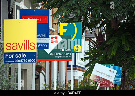 estate agent for sale boards london  uk stock photo