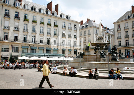 July 2008 - Place Royale square Nantes Brittany France - Stock Photo
