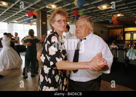 Elderly people dancing at a wedding party, Raciborz, Poland - Stock Photo