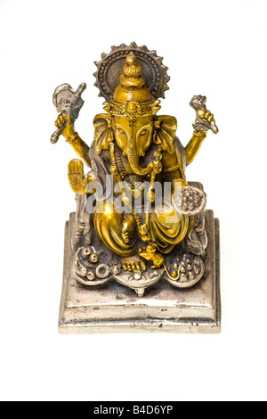 Bronze statue of Ganesh Hindu god painted in gold and silver - Stock Photo