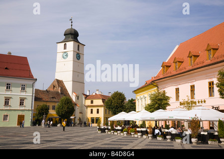 Sibiu Transylvania Romania Europe Old buildings and street cafe in Piata Mare in historic city centre of Hermannstadt - Stock Photo