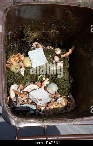 rotting wasted food thrown out by a household into the brown recycling bin for collection to make into compost in - Stock Photo