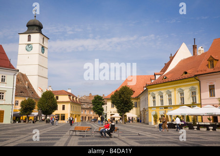 Old buildings in Piata Mare in historic city centre of Hermannstadt or Sibiu Transylvania Romania Europe - Stock Photo