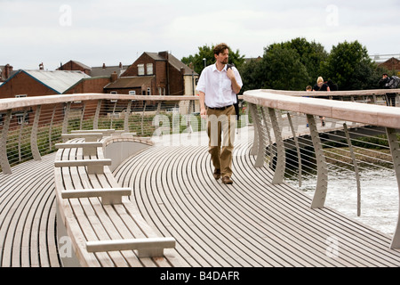 UK Yorkshire Castleford Grand Designs Big Town Plan new footbridge over River Aire - Stock Photo