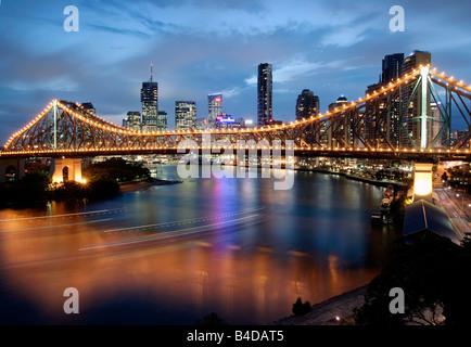 Australia, Queensland, Brisbane, Story Bridge with Riverside Centre - Stock Photo