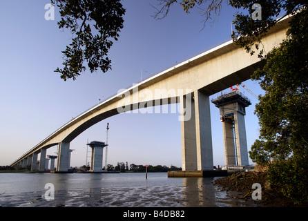 Australia, Brisbane, Gateway Upgrade Project, Construction of the second Gateway Bridge cross the Brisbane River - Stock Photo