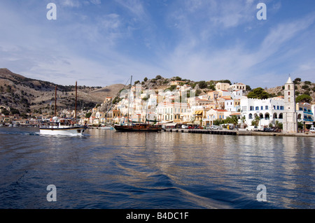 The harbour of the Greek island of Symi in the Southern Dodecanese,  Greece - Stock Photo