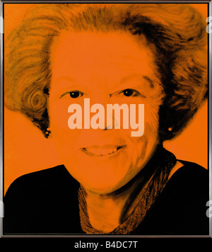 Queen Beatrix of the Netherlands, painting in orange/black made by nick oudshoorn in 2004 - Stock Photo