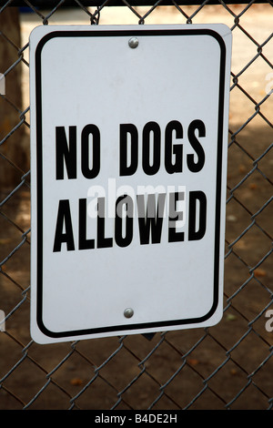 No dogs allowed sign on chain link fence - Stock Photo