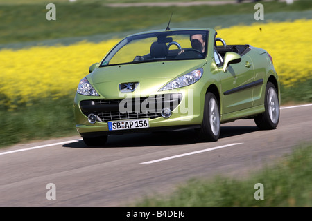 Peugeot 207 CC 120 Sport, model year 2007-, green, driving, diagonal from the front, frontal view, country road, - Stock Photo