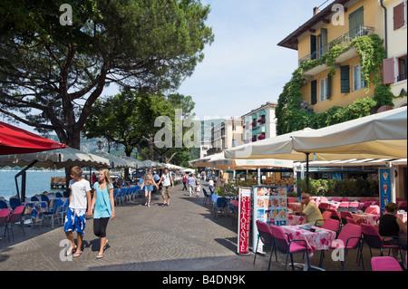 Cafe on the lakefront in Garda, Lake Garda, Italy - Stock Photo