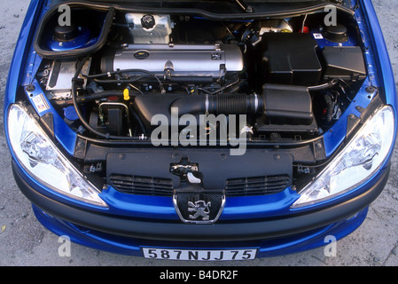 Car, Peugeot 206 CC, Convertible, model year 2000-, blue, view in engine compartment, engine, technique/accessory, - Stock Photo